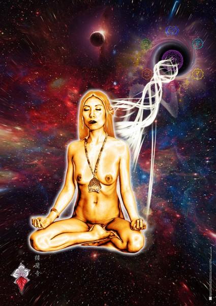 Poster: Durch den spirituellen Aufstieg traszendent mit dem Universum